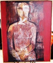 NUDE WOMAN BY MAXIMINO JAVIER OIL ON CANVAS