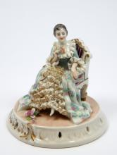 ANTIQUE DRESDEN LACE PORCELAIN FIGURE OF WOMAN