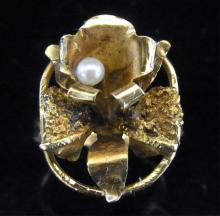 18k Gold Pearls Orchid Flower Cocktail Ring