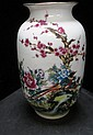 CHINESE PORCELAIN BIRD AND ROSE VASE