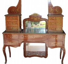 FRENCH STYLE INLAID WOOD DRESSING VANITY