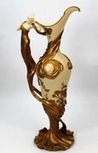 COMPOSITE ART NOUVEAU FIGURAL HANDLE EWER