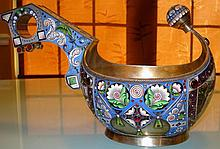 RUSSIAN SILVER KOVSH WITH MINIATURE