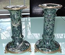 RUSSIAN SILVER JASPER STONE PAIR OF CANDLE HOLDERS