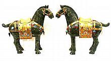 Pr 20th C PALATIAL JADE VENEER ENAMELED HORSES