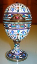 RUSSIAN IMPERIAL SILVER ENAMEL EGG WITH STONES