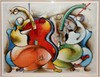 DAVID SCHLUSS LARGE LITHOGRAPH OF MUSICIANS FRAMED