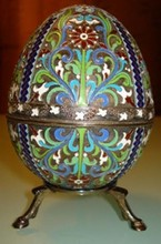 HUGE IMPERIAL RUSSIAN SILVER ENAMELED EGG
