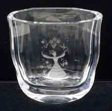 orrefors engraved glass vase #2956