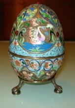 HUGE RUSSIAN IMPERIAL ENAMELED SILVER EGG