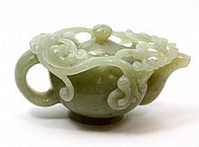 CHINESE JADEITE CARVED TEA POT