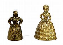 2- BRONZE 19TH CENTURY FIGURAL LADY BELLS