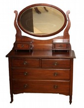 ANTIQUE AMERICAN MIRRORED VANITY DRESSER SET