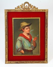 ANTIQUE GERMAN PORCELAIN PLAQUE OF BOY SMOKING
