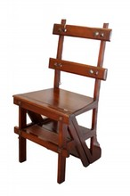 ANTIQUE AMERICAN LEATHER TOP LIBRARY CHAIR STOOL