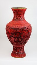 ANTIQUE & LARGE CHINESE EXPORT CINNABAR VASE