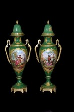 PAIR ANTIQUE SEVRES GREEN PORCELAIN & BRONZE URNS