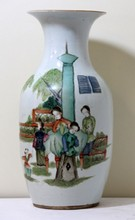 19th C QING CHINESE PORCELAIN HAND PAINTED VASE