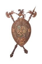Large Vintage Metal Medieval Shield Coat Of Arms Wall Plaque with two Axes.