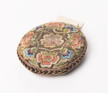 Persian Qajar embroidered silk pillow c.19th Century.