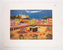 Islamic Art Rostoci Studio Print on paper With Mecca. 12 x 8 3/4 inches. Islamic.