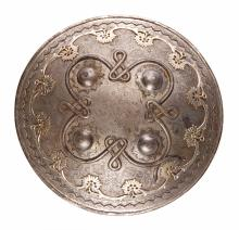 19th century INDIAN Shield with Silver and Gold Inlaid.