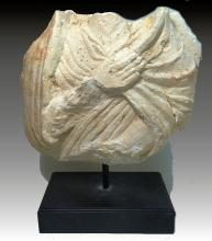 Ancient Roman Stone Bust with Toga and Distinctive Hand, circa 1st -4th Century.