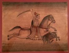 Indian Art Watercolor of Raj on Horse late 19th early 20th century.