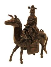 Chinese Bronze Man On Horse Figure.