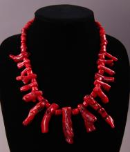 Red Coral necklace.  (Size: See last photo for measurement.)