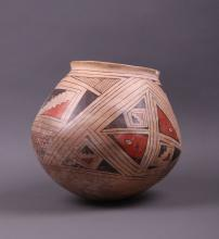 Southwest Polychrome Pot.  Condition Report: small chip in lip. (Size: See last photo for measurement.)