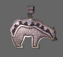 Zuni Silver Bear Pendant signed J.B. (Size: See last photo for measurement.)