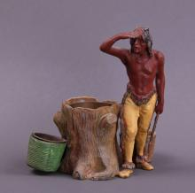 Native American Indian Scout metal painted sculpture. (Size: See last photo for measurement.)