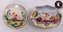 Italian, hand painted Capo Di Monte style miniature plates having Grecian pastoral scenes of Pan and Dionysius and Cherubs. Fired gold highlights and both marked