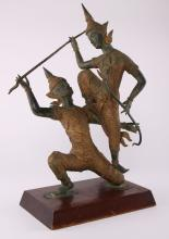 Southeast Asia parcel gilt bronze of two dancing temple warriors .  SIZE: see attached ruler photo.  Photos are part of the description representing the condition report and can be used for authentication prior to the sale date.  Pangaea Auctions urges Bidder's to view all attached photos in detail.  #(Asian, 19th-20th Century, Fine Art- Sculpture, Figural, Bronze, Antique, Vintage, ).