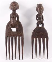 Two (2) African Chokwe figural combs, Angola.  Chokwe, combs (cisakulo) have a dual purpose. This utensil, with strong teeth, is used in the first place to untangle the hair of both men and women. However, combs can also be used to style and decorate the hair.  The Chokwe are a major group of people in the largest part of eastern Angola. Chokwe groups also exist in Zambia and in the DRC.  Chokwe combs can be classified in two major categories. The first concerns sculpted examples in wood. They have figurative or geometric decorations which are sculpted or cut in the wood. The second category includes combs whose wooden teeth are linked by a delicate weaving technique.  SIZE: see attached ruler photo.  Photos are part of the description representing the condition report and can be used for authentication prior to the sale date.  Pangaea Auctions urges Bidder's to view all attached photos in detail.  #(African, 19th-20th Century, Fine Art- Sculpture, Tool, Wood, Antique, Vintage, ).
