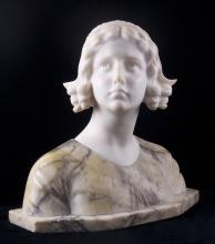 Emili (XX), A fantastic European, early 20th Century, carved alabaster and marble bust depicting a young girl in floral decorated dress and headscarf, her innocent yet elegant gaze slightly looking up with an expression that is full of hopes and dreams or mixed with emotions and fear of the unknown.  Engraved signature