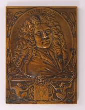 G. Prudhomme, bronze plate art medal, a portrait of Moliere, marked