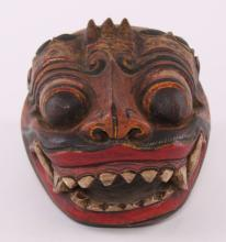 Antique Balinese Barong Rangda Hand Carved Wooden Mask Indonesian Boma Topeng  SIZE: see attached ruler photo.  Photos are part of the description representing the condition report and can be used for authentication prior to the sale date.  Pangaea Auctions urges Bidder's to view all attached photos in detail.  #(Balinese, 19th-20th Century, Fine Art- Sculpture, Mask, Wood, Indonesian, Vintage, ).