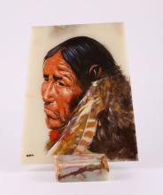Native American Chief oil painting on onyx stone slab, signed by artist