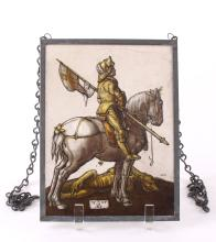 Albrecht Durer (After), glass painting of Saint George.  Exquisite painted glass pane of a Dragon Slayer Knight mounted on a white stallion horse standing aside a dead green dragon marked 1508 AD and signed W.K.  The details throughout this rare glass painting are intensified as the light shines through either side.  SIZE: see attached ruler photo.  Photos are part of the description representing the condition report and can be used for authentication prior to the sale date.  Pangaea Auctions urges Bidder's to view all attached photos in detail.  #(European, 18th-19th Century, Fine Art- Painting, Tile, Glass, 19th-20th Century, Antique, Vintage, ).