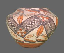 Southwest Polychrome Pottery Olla, Acoma, c. 19th century, multi-color form decorated with bird, foliate, and  other designs.  Native American Indian.  Condition Report:  Old damage repair in rim.  Please inspect all photos provided for wear.