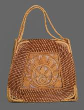 Exquisite Southern American hand woven sweet grass purse, late 19th/early 20th century