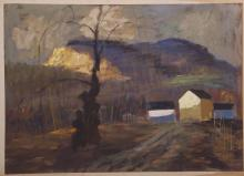 Paul Riba (1912-1977), oil on hard board.  One of his last paintings executed in 1977.  Signed Paul Riba.  Unframed.
