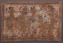 Rare 17th-19th Century Hindu combat painting on cloth.