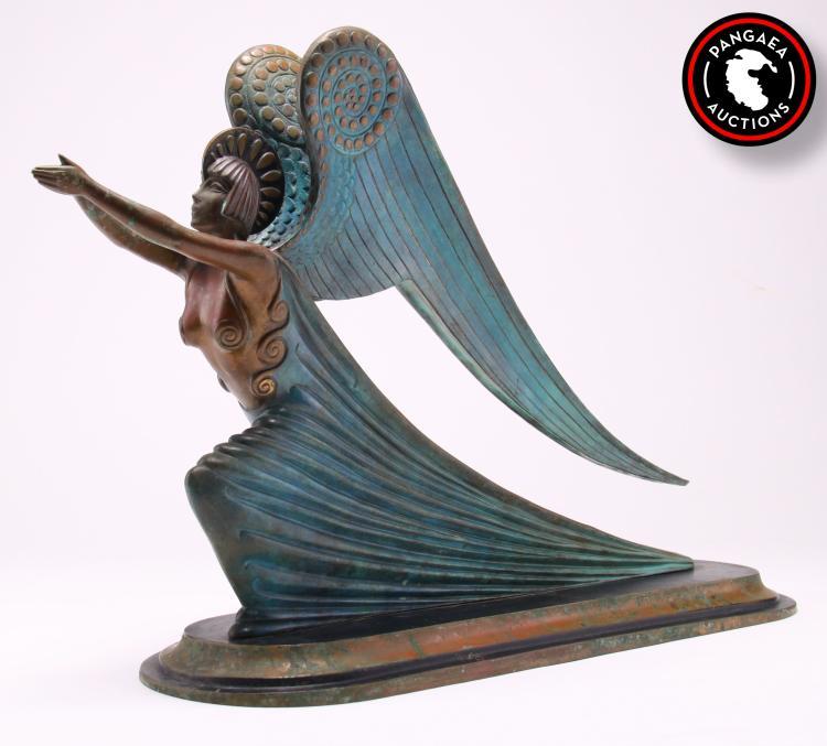 Art Deco Ship: Large Art Deco Yacht/ship Figurehead Of A Winged Goddess Plu
