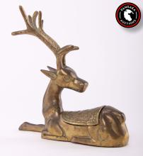 Brass sculpture of a deer with hidden compartment on back.  SIZE: see attached ruler photo.  Photos are part of the description representing the condition report and can be used for authentication prior to the auction date.  Pangaea Auctions urges Bidder's to view all attached photos in detail.  #(Indian, Vintage, Fine Art- Sculpture, Figural, Brass, , Bronze)