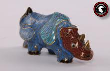Asian Cloisonn? Rhinoceros.   SIZE: see attached ruler photo.  Photos are part of the description representing the condition report and can be used for authentication prior to the auction date.  Pangaea Auctions urges Bidder's to view all attached photos in detail.  #(Asian, Vintage, Fine Art- Sculpture, Cast, Copper, Champlev?, Antique)