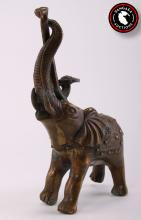 Indian sculpture of bronze Elephant.   SIZE: see attached ruler photo.  Photos are part of the description representing the condition report and can be used for authentication prior to the auction date.  Pangaea Auctions urges Bidder's to view all attached photos in detail.  #(Indian, Vintage, Fine Art- Sculpture, Figural, Bronze, , Antique)