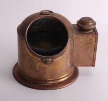 19th Century, brass binnacle with compass and lighting made by Sestrel between 1875 - 1925.  (Size: See second photo for measurement.)  Photos are part of the description representing the condition report.  Pangaea Auctions urges Bidder's to view all attached photos.